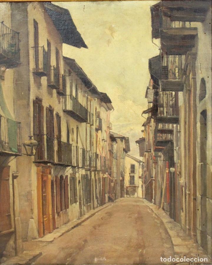 Arte: Julio Borrell (Barcelona, 1877-1957). Calle de Puigcerdà, óleo sobre lienzo, 46x36 cm. - Foto 2 - 173571588