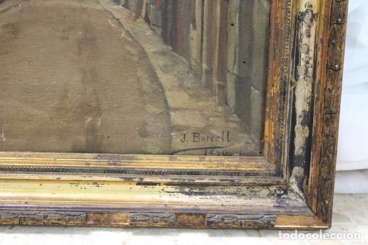 Arte: Julio Borrell (Barcelona, 1877-1957). Calle de Puigcerdà, óleo sobre lienzo, 46x36 cm. - Foto 3 - 173571588