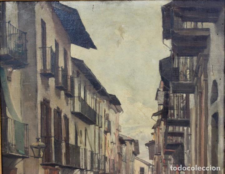 Arte: Julio Borrell (Barcelona, 1877-1957). Calle de Puigcerdà, óleo sobre lienzo, 46x36 cm. - Foto 4 - 173571588