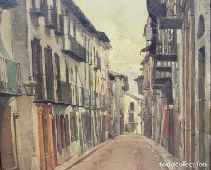 Arte: Julio Borrell (Barcelona, 1877-1957). Calle de Puigcerdà, óleo sobre lienzo, 46x36 cm. - Foto 5 - 173571588