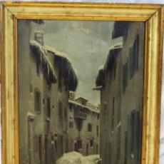 Arte: JULIO BORRELL (BARCELONA, 1877-1957). CALLE DE PUIGCERDÀ NEVADAS, ÓLEO SOBRE LIENZO, 43X33 CM.. Lote 173571693