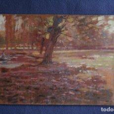 Arte: MELCIOR DOMENGE ANTIGA (OLOT, 1871 - 1939) ANTIGUO OLEO SOBRE TABLA. PAISAJE CON FIGURA. Lote 173596163