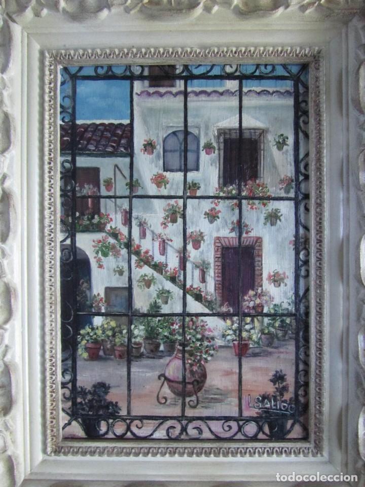 Arte: Óleo enmarcado patio andaluz enrejado Firma Lolita Salido 2006 - Foto 2 - 173598305