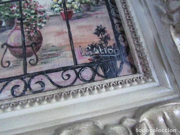 Arte: Óleo enmarcado patio andaluz enrejado Firma Lolita Salido 2006 - Foto 3 - 173598305