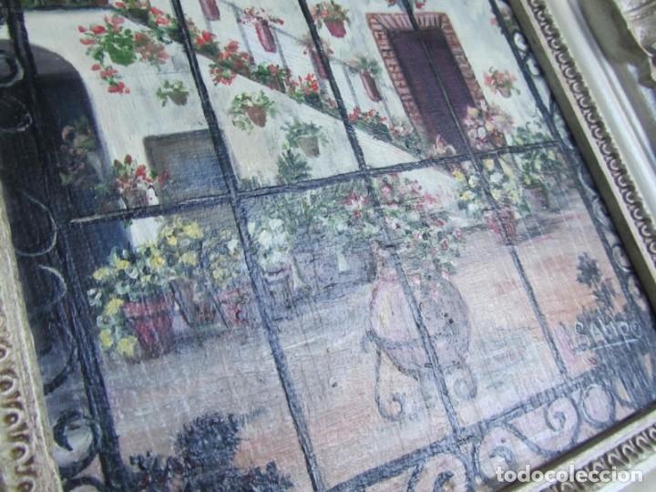 Arte: Óleo enmarcado patio andaluz enrejado Firma Lolita Salido 2006 - Foto 4 - 173598305