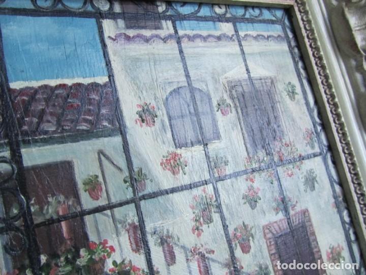 Arte: Óleo enmarcado patio andaluz enrejado Firma Lolita Salido 2006 - Foto 5 - 173598305