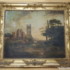 Arte: MAGNIFICO OLEO SOBRE TELA FRANCES SIGLO XVIII CON MARCO ORIGINAL PAN ORO. ESCENA DE CAZA CASTILLO. Lote 173641388