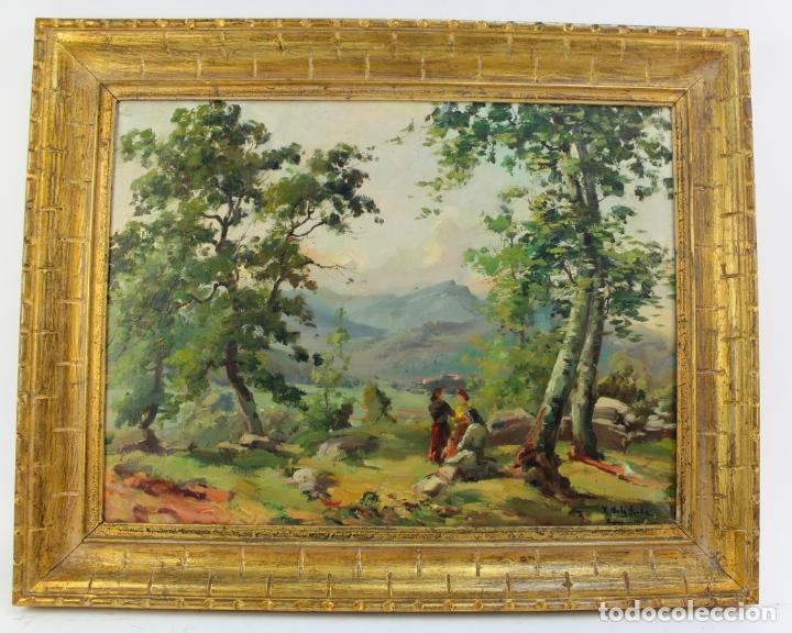 B-851. OLEO SOBRE LIENZO,PAISAJE. FIRMADO SOLER I JORBA. 1943. (Arte - Pintura - Pintura al Óleo Contemporánea )