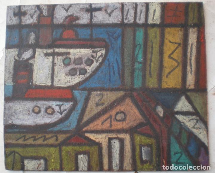 OLEO SOBRE CHAPA, TIPO MOSAICO, PINTURA A DOS CARAS (Arte - Pintura - Pintura al Óleo Moderna sin fecha definida)