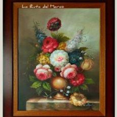Arte: FLORES EN VASIJA - FIRMADO - CUADRO ENMARCADO DE ÓLEO SOBRE LIENZO. Lote 173740480