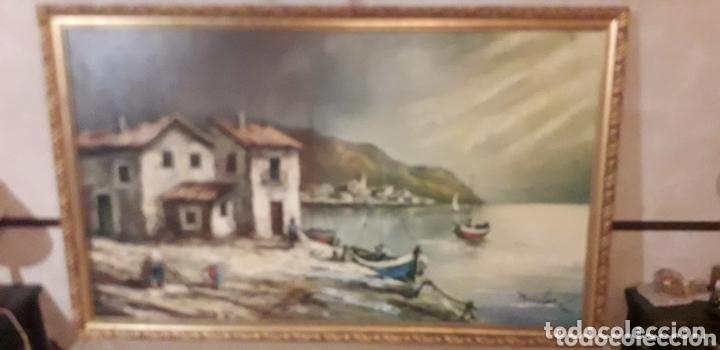CUADRO PUEBLO PESQUERO (Arte - Pintura - Pintura al Óleo Moderna siglo XIX)