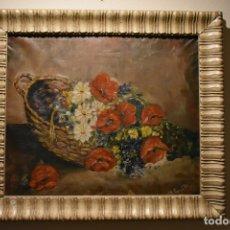 Arte: OLEO ANTIGUO BODEGON FLORES CON FIRMA, MEDIDAS: 68 X 60. Lote 153454582