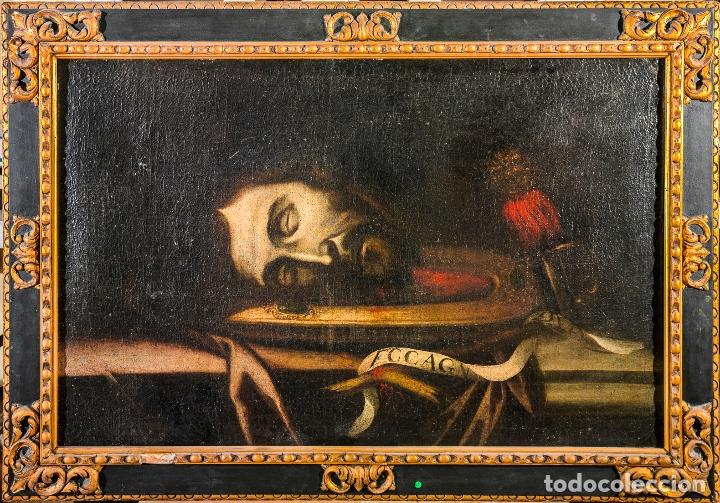 CABEZA CERCENADA DE JUAN EL BAUTISTA (BARROCO TENEBRISTA ESCUELA SEVILLANA SIGLO XVII) (Arte - Pintura - Pintura al Óleo Antigua siglo XVII)