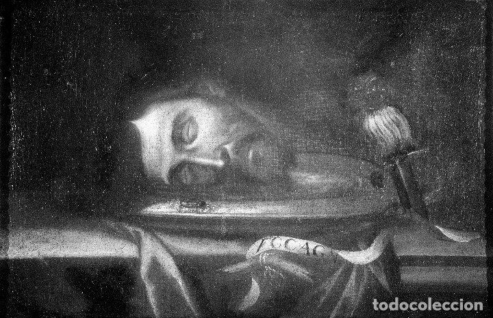 Arte: Cabeza cercenada de Juan el Bautista (Barroco Tenebrista escuela sevillana siglo XVII) - Foto 7 - 174023452