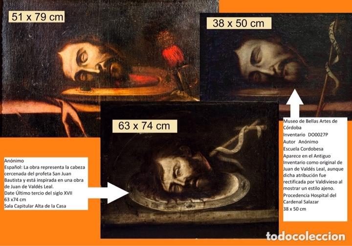 Arte: Cabeza cercenada de Juan el Bautista (Barroco Tenebrista escuela sevillana siglo XVII) - Foto 11 - 174023452