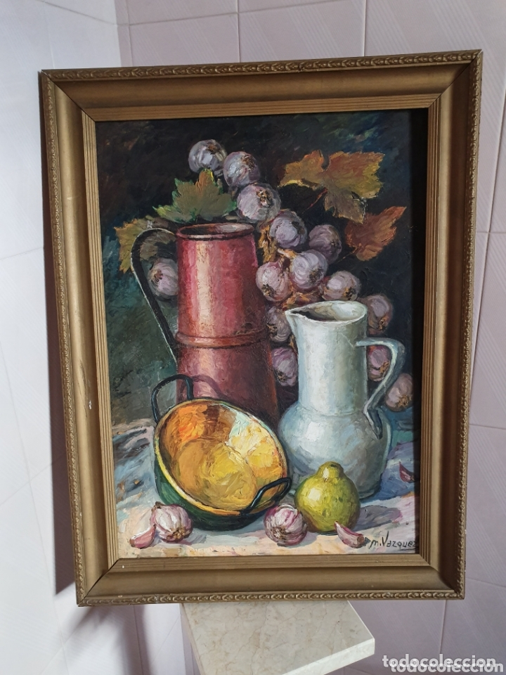 PRECIOSO BODEGON PINTADO AL OLEO SOBRE LIENZO ESTA FIRMADO (Arte - Pintura - Pintura al Óleo Antigua sin fecha definida)
