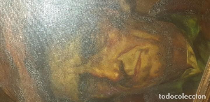 Arte: Pintura oleo sobre lienzo antigua firma ilegible - Foto 3 - 174100335