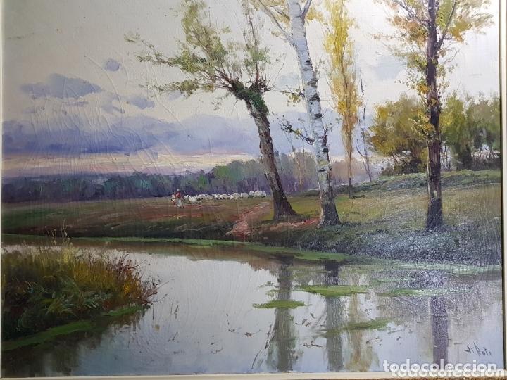 PAISAJE CON PASTOR POR J. RUIZ (Arte - Pintura - Pintura al Óleo Contemporánea )