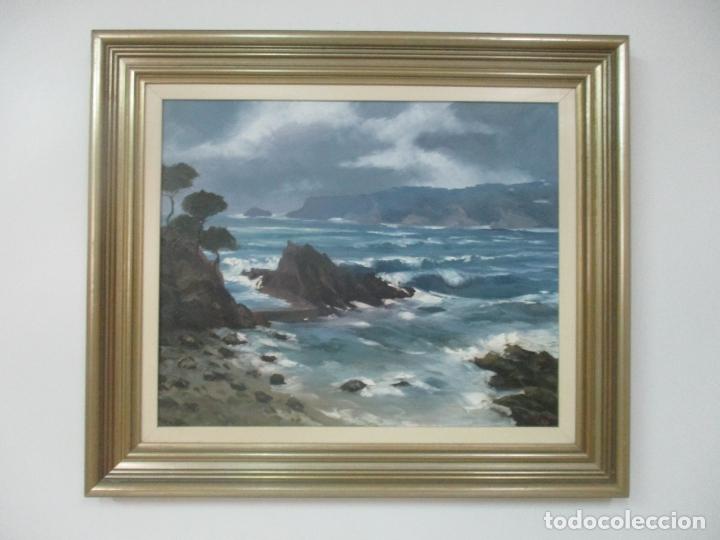 PERE MANERA - ÓLEO SOBRE TELA, MARINA - S´AGARO, SANT FELIU DE GUIXOLS - MAR DE LLEVANT, 1987 (Arte - Pintura - Pintura al Óleo Moderna sin fecha definida)
