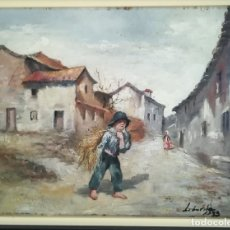 Art: ILEGIBLE S - XIX , PUEBLO , OLEO SOBRE CARTON FDO. FCHADO. 1893 , MED. OLEO 20 X 25 CMS.. Lote 174175477