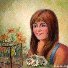 Arte: FIRMADO C. ALAVEDRA. OLEO SOBRE TABLA ENTELADA FECHADO DEL AÑO 1986. RETRATO FEMENINO. Lote 174228389