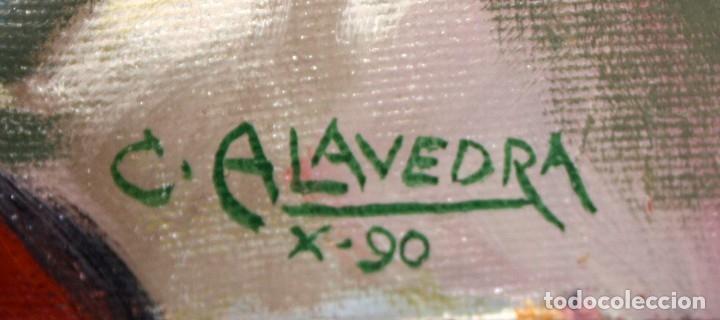 Arte: FIRMADO C. ALAVEDRA. OLEO SOBRE TABLA ENTELADA FECHADO DEL AÑO 1990. IMAGEN DE SAN CARLOS BORROMEO - Foto 4 - 174282723