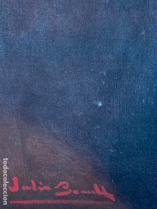 Arte: Excepcional oleo antiguo, de Julio Borrell, en gran formato y precioso marco. Leer mas - Foto 6 - 174305783