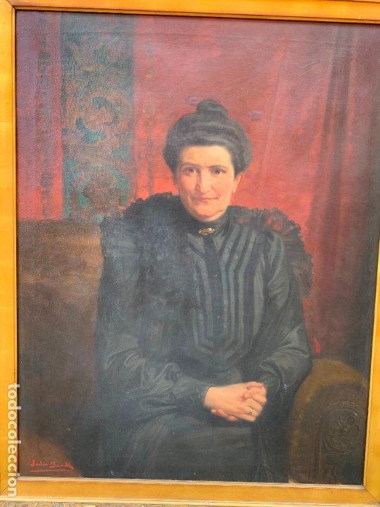 Arte: Excepcional oleo antiguo, de Julio Borrell, en gran formato y precioso marco. Leer mas - Foto 7 - 174305783