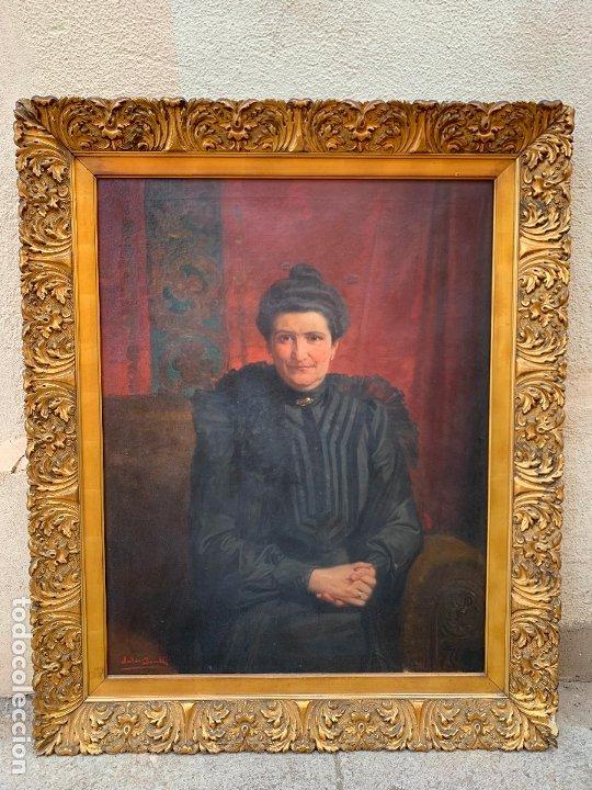 EXCEPCIONAL OLEO ANTIGUO, DE JULIO BORRELL, EN GRAN FORMATO Y PRECIOSO MARCO. LEER MAS (Arte - Pintura - Pintura al Óleo Antigua sin fecha definida)
