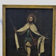 Arte: FERNANDO III EL SANTO- ÓLEO SOBRE TELA- S XVIII-PARA RESTAURAR. Lote 174308577