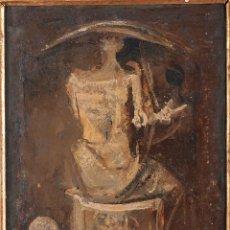 Arte: JUAN ANTONIO MORALES (1909-1984). MUJER EN EL ESPEJO (H.1945). ÓLEO SOBRE TABLA. 31 X 23 CM.. Lote 174324017