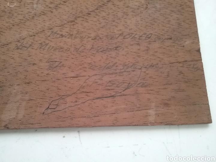Arte: Cuadro miniatura al óleo sobre papel adherido a tabla , copia de Goya y firma ilegible. - Foto 6 - 159530994