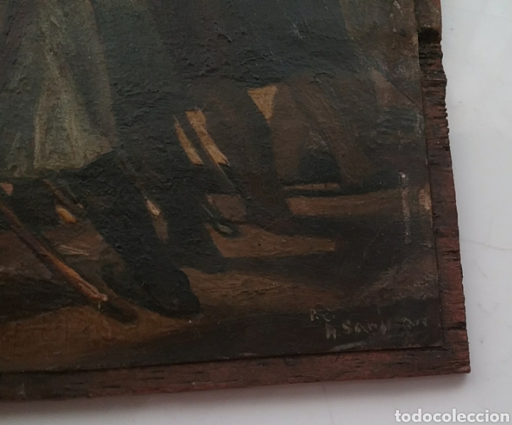 Arte: Cuadro miniatura al óleo sobre papel adherido a tabla , copia de Goya y firma ilegible. - Foto 7 - 159530994