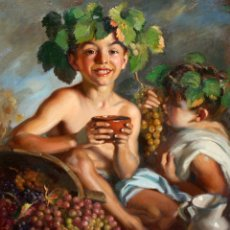 Arte: PERE SEGIMON CISA (BARCELONA, 1904 - BARCELONA, 1976) OLEO SOBRE TELA. NIÑOS CON UVAS. Lote 174428414