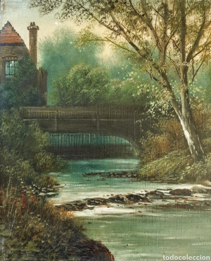 Arte: Anonimo : casa a la orilla del rio. ( Escuela Inglesa ) - Foto 3 - 174429045
