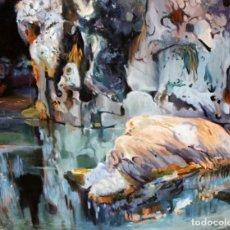 Arte: EL ROC DE L'ESTANY SEGUN OBRA DE JOQAUIM MIR. OLEO SOBRE TELA. 103 CM. X 128 CM.. Lote 174435969
