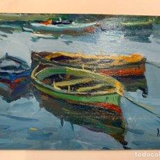 Arte: PRECIOSO PAISAJE-MARINA, BARCAS, AL OLEO SOBRE TABLERO. FIRMADO. MIDE APROX 15,5X10,5CMS (SIN MARCO). Lote 174457135