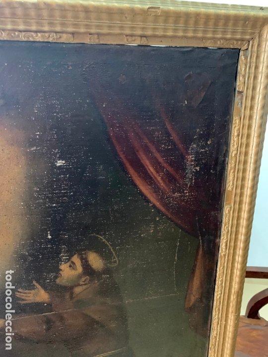 Arte: OLEO SOBRE LIENZO FINAL SIGLO XVIII SAN ANTONIO - MEDIDA MARCO 90X70 CM - RELIGIOSO - Foto 6 - 174459385