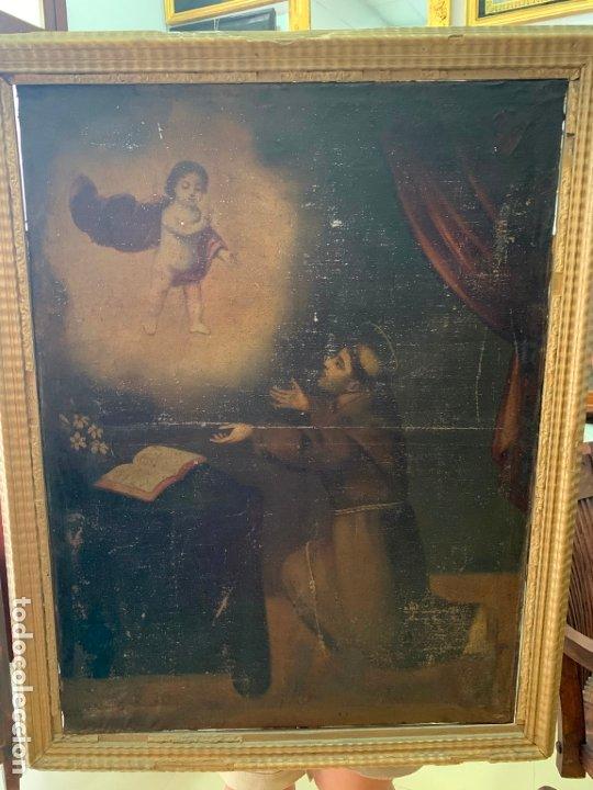 OLEO SOBRE LIENZO FINAL SIGLO XVIII SAN ANTONIO - MEDIDA MARCO 90X70 CM - RELIGIOSO (Arte - Pintura - Pintura al Óleo Antigua siglo XVIII)