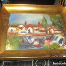 Arte: PINTURA IMPRESIONISTA OLEO EN TABLA FIRMADA MARCO MADERA DORADO. Lote 174478520