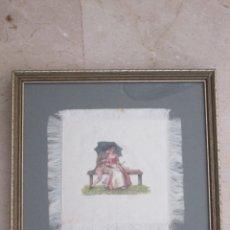 Arte: PINTURA AL OLEO SOBRE SEDA - ESCENA ROMANTICA - ENMARCADO CON CRISTAL - 27,5X27,5 - 17,5X18. Lote 174482292