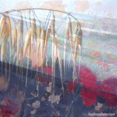 Arte: MATEO COLLAGE (ESPIGAS Y AMAPOLAS 100X100 CMS). Lote 174530684