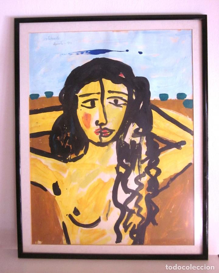 JOSÉ ANTONIO TOTO ESTIRADO FIRMADO Y FECHADO PROPIO AUTOR AGOSTO 1990 ACRÍLICO OLEO? 71X56 CON MARCO (Arte - Pintura - Pintura al Óleo Contemporánea )