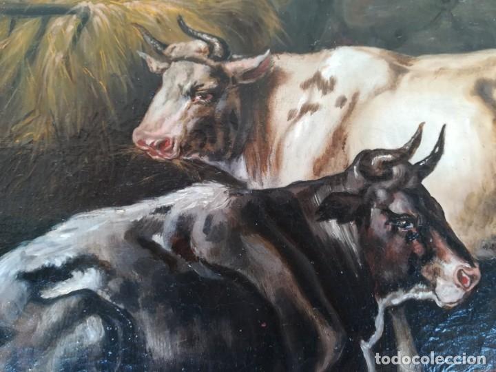 Arte: PINTURA AL OLEO BRITANICA SIGLO XIX,GANADO EN ESTABLO,FIRMADO G.WEBILL,TORO-BUEY,EPOCA VICTORIANA - Foto 4 - 174630348