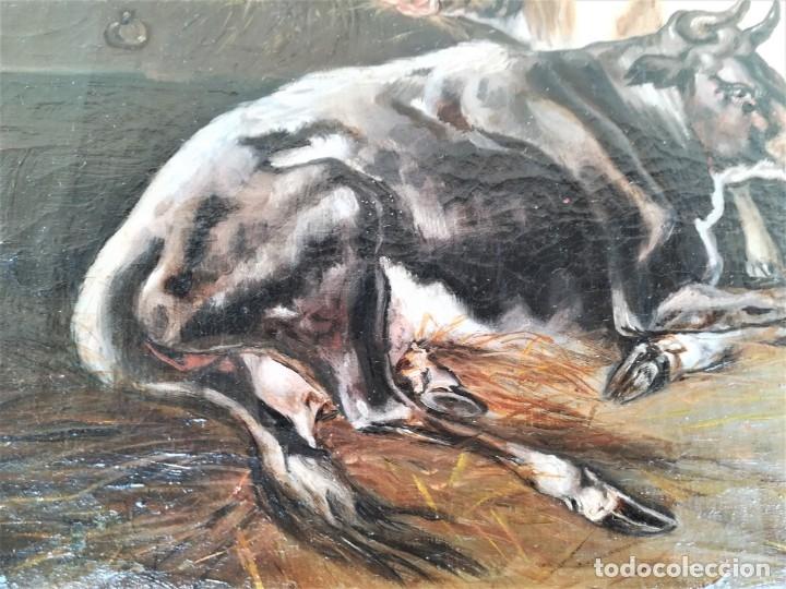 Arte: PINTURA AL OLEO BRITANICA SIGLO XIX,GANADO EN ESTABLO,FIRMADO G.WEBILL,TORO-BUEY,EPOCA VICTORIANA - Foto 7 - 174630348