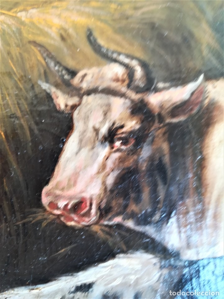 Arte: PINTURA AL OLEO BRITANICA SIGLO XIX,GANADO EN ESTABLO,FIRMADO G.WEBILL,TORO-BUEY,EPOCA VICTORIANA - Foto 8 - 174630348