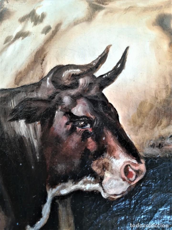 Arte: PINTURA AL OLEO BRITANICA SIGLO XIX,GANADO EN ESTABLO,FIRMADO G.WEBILL,TORO-BUEY,EPOCA VICTORIANA - Foto 6 - 174630348