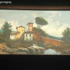 Arte: PAISAJE CON PUENTE - ÓLEO SOBRE LIENZO - PRINCIPIOS SIGLO XX - FIRMADA. Lote 174651995