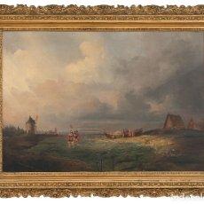 Arte: PAISAJE MARINO CON PESCADORES - ANTONIO DE BRUGADA VILA (MADRID, 1804-1863) ÓLEO/LIENZO - 88X 26 CMS. Lote 174967309