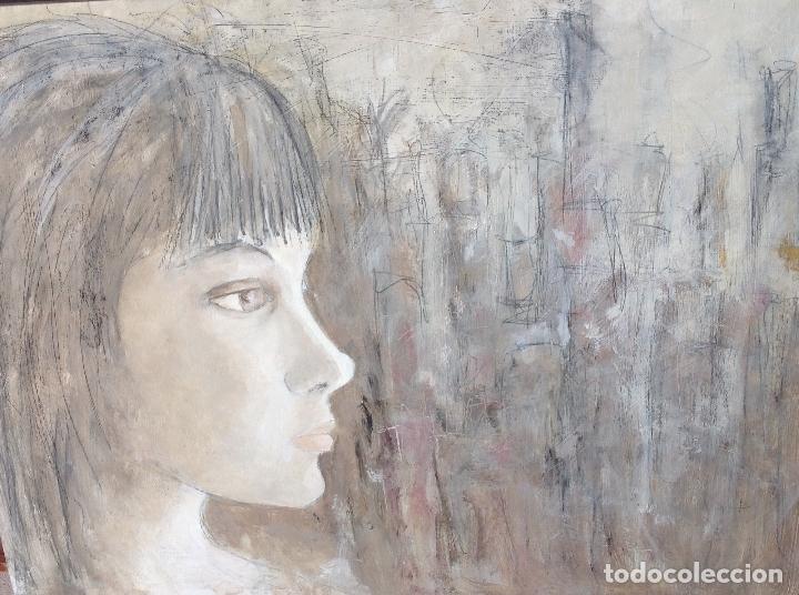 PERFIL DE MUJER JOVEN. PINTURA SOBRE TABLERO. GRAN FORMATO. 60 X 80 X 4,5 CM. (Arte - Pintura - Pintura al Óleo Contemporánea )